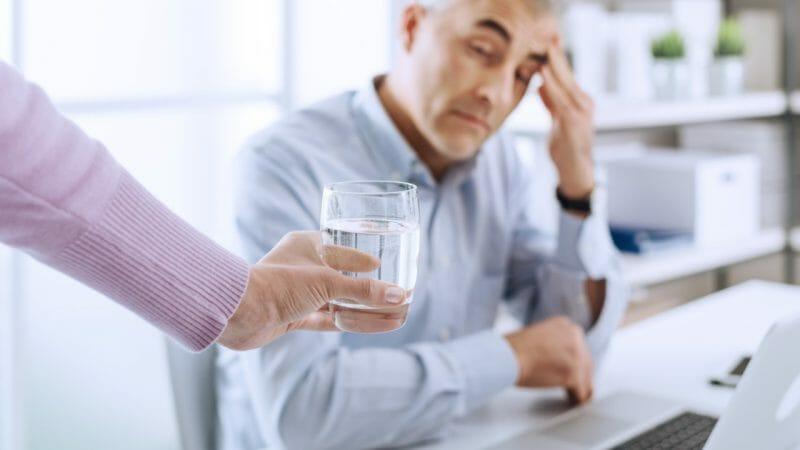 Businessman having an headache